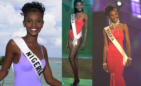 Image result for Agbani Darego was the only one to wear a maillot as